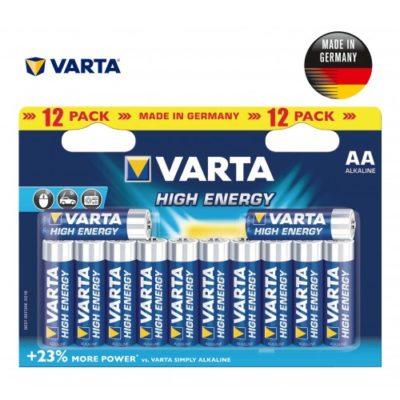 Baterijos VARTA HIGH ENERGY, AA/LR6, 12vnt