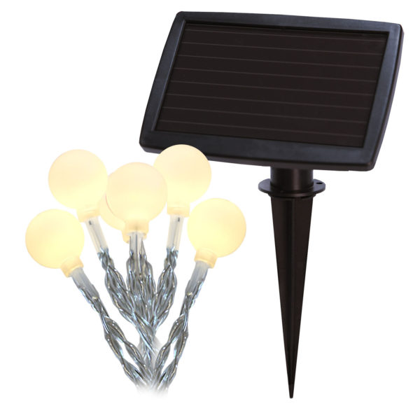 4.7m lempučių girlianda su saulės baterija GLOBINI SOLAR