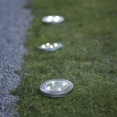 3 lauko žibintai su saulės baterija GRASS LIGHT SOLAR Saulės baterijos