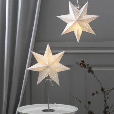 Žvaigždė ant stovo BOBO WHITE 34CM
