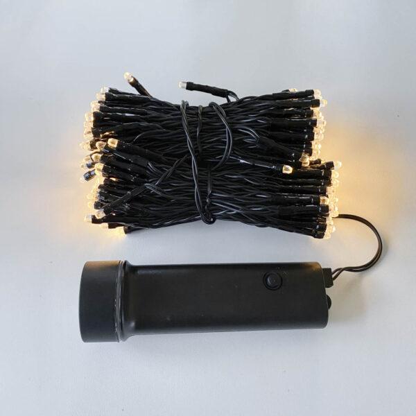 15m lauko lempučių girlianda su baterijomis WARM&BLACK IP44