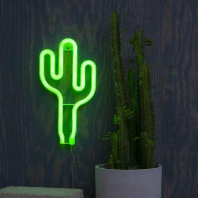 Pakabinama LED dekoracija CACTUS NEONLIGHT, maitiniama 3AA baterijomis