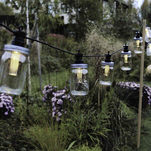 3m lempučių girlianda su saulės baterijomis MASON JAR