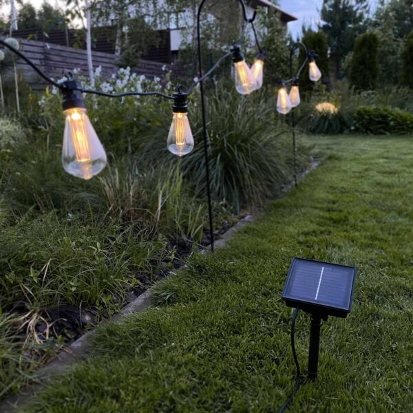 3m lempučių girlianda su saulės baterijomis BIG EDISON BULB